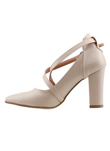Ayakland Ayakland 137029-1122 Cilt 9 Cm Topuk Bayan Sandalet Ayakkabı Ten